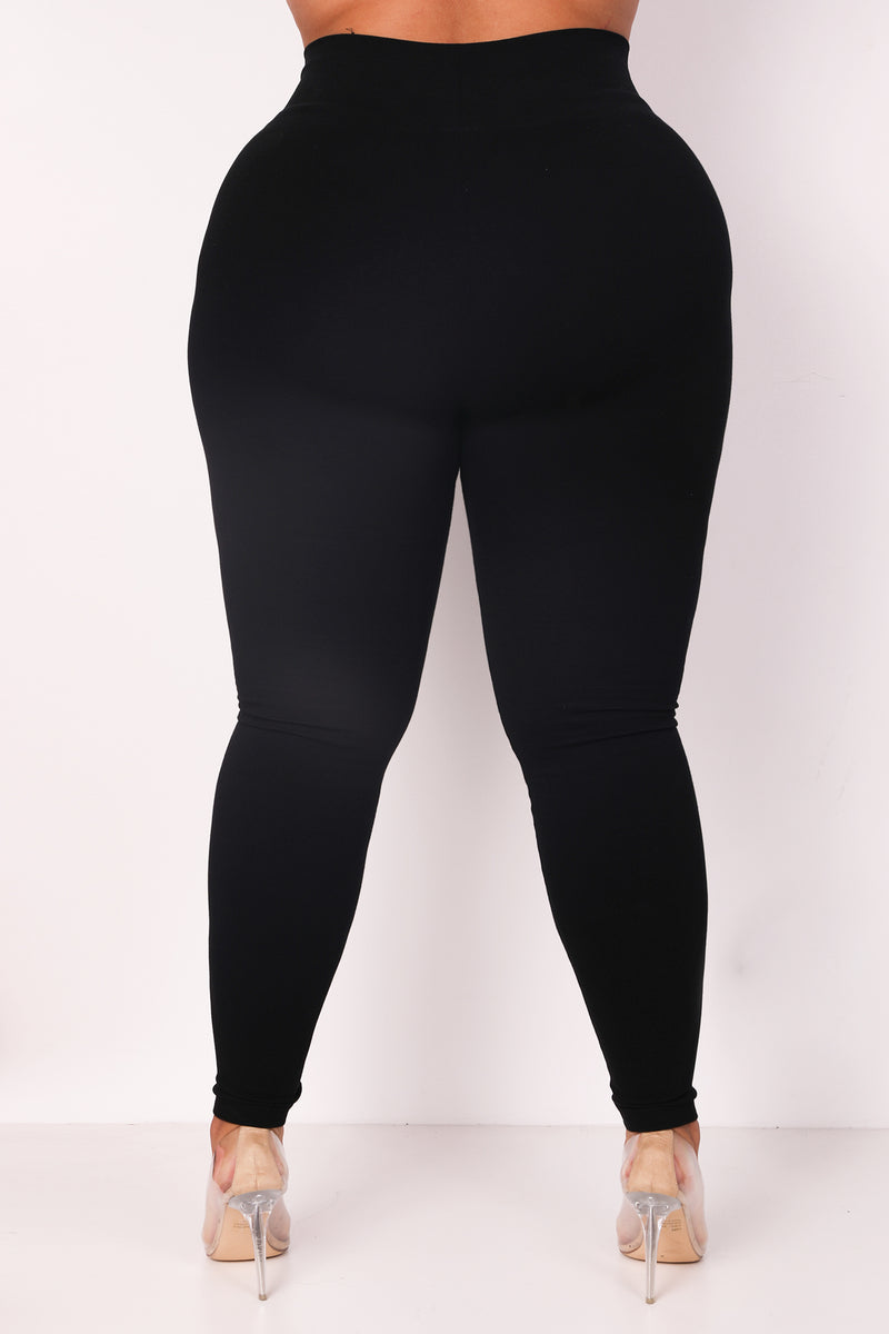 The Black Cotton Tummy Control Legging (fits up to Plus) (11043046932)