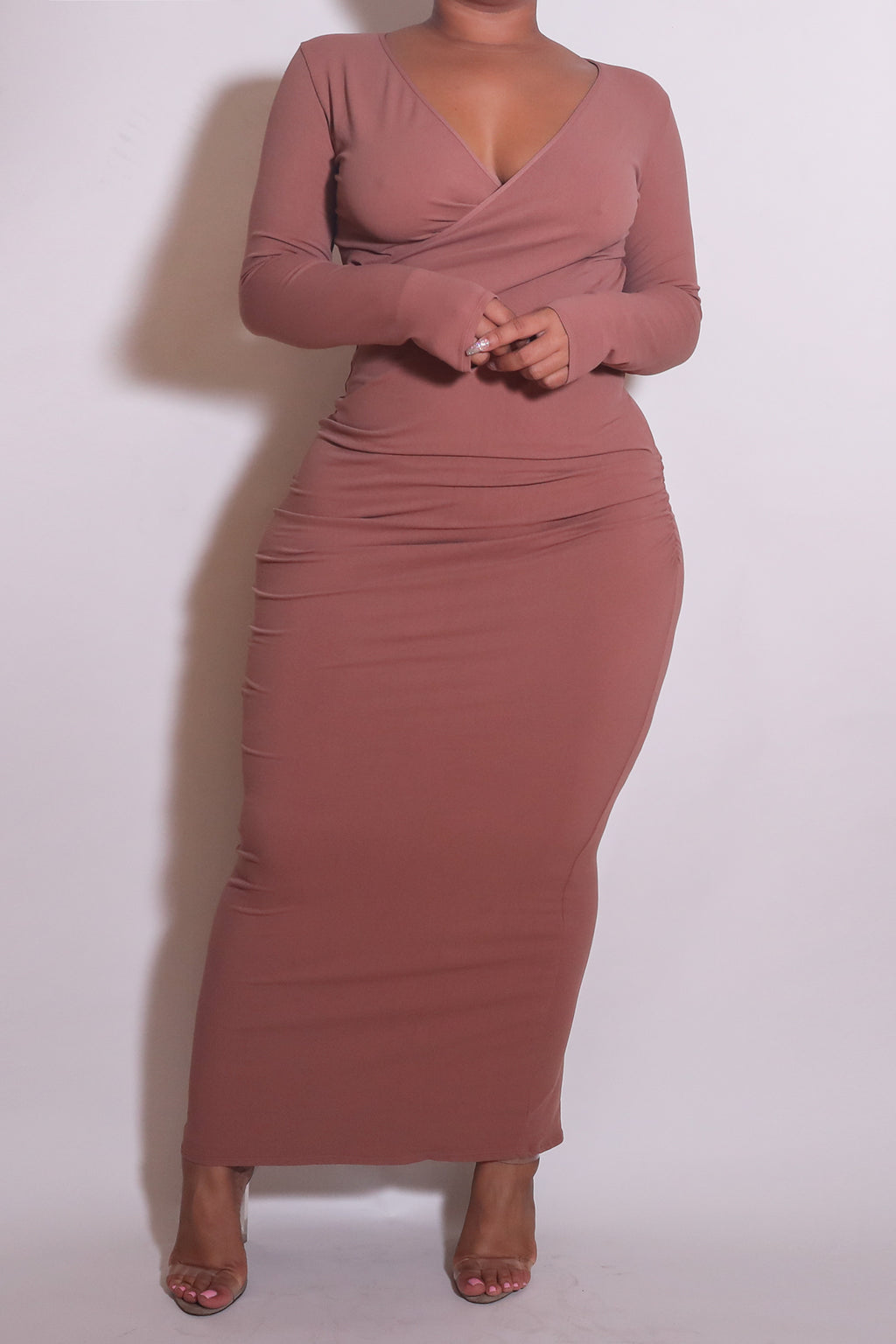 The Wrap Bodycon Maxi Dress in Blush - Babes And Felines | Specializing in Fashionable Staple Pieces for Every Shape and Size (1449226928200)