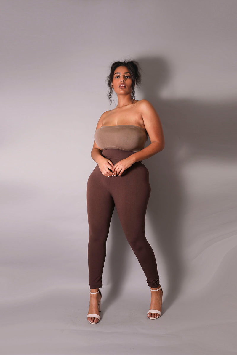 The Chocolate Yoga Tummy Control Legging fits up to PLUS! (Choose Your Size!)