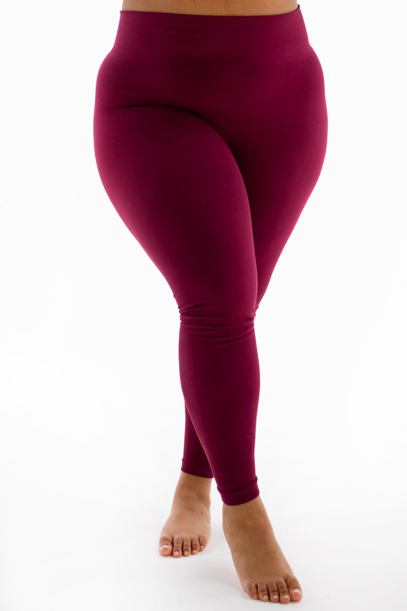 The Burgundy Cotton Tummy Control Legging