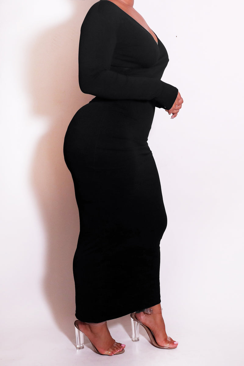 The Wrap Bodycon Maxi Dress Black - Babes And Felines | Specializing in Fashionable Staple Pieces for Every Shape and Size