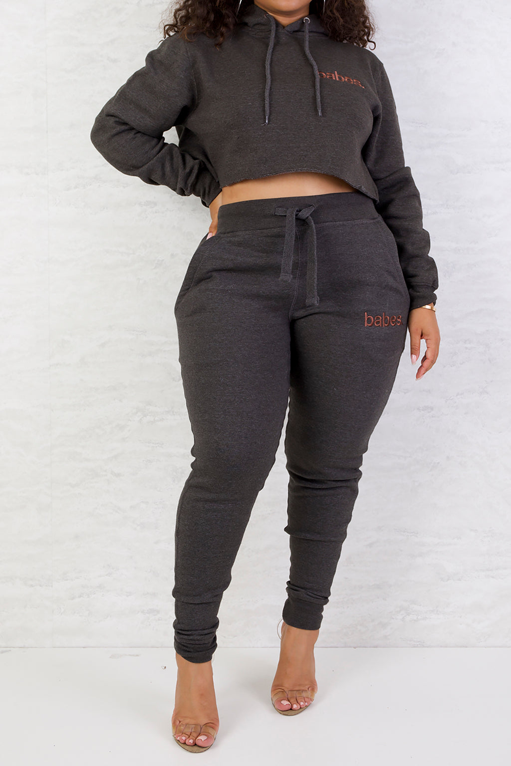 "Babes Comfy Hoodie ""Cropped Charcoal"""