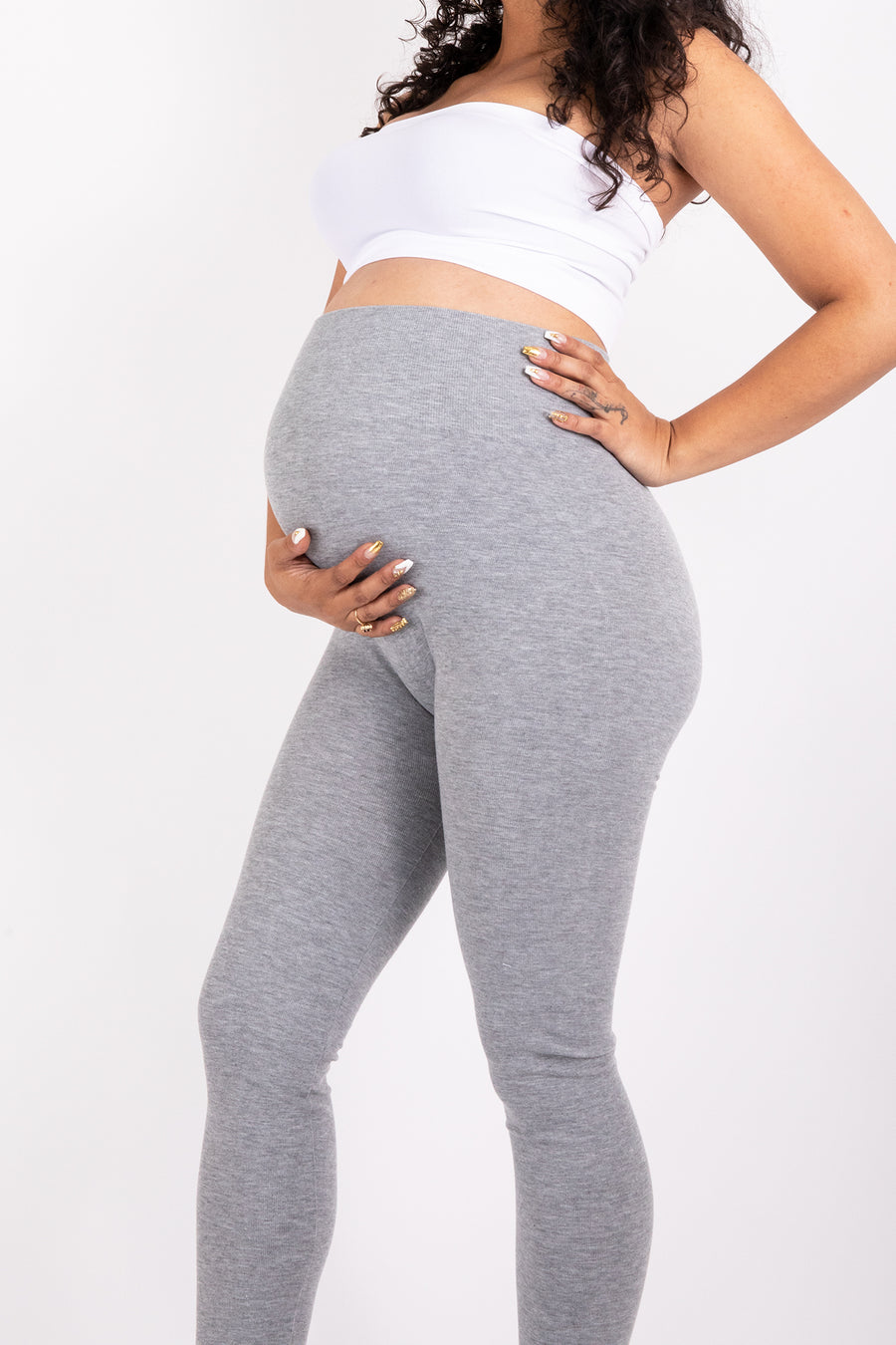 The Maternity Gray Cotton Tummy Control Legging (fits up to Plus)