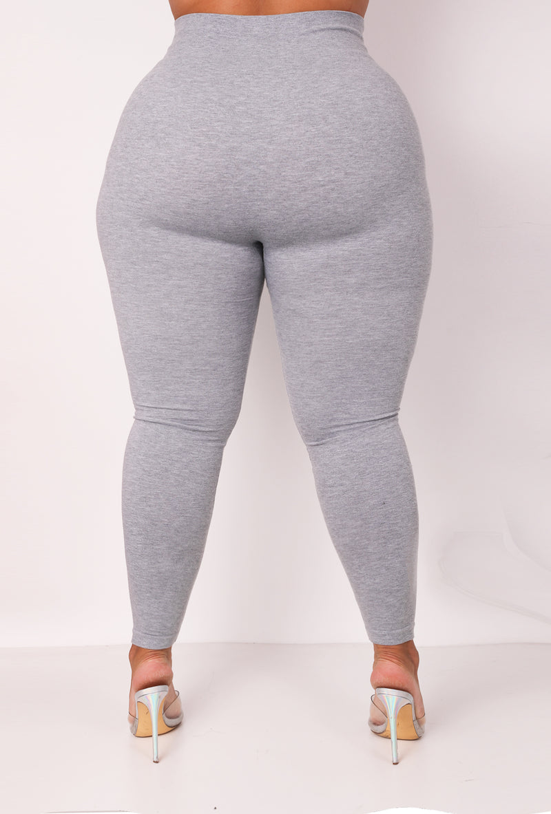 The Gray Cotton Tummy Control Legging (fits up to Plus)