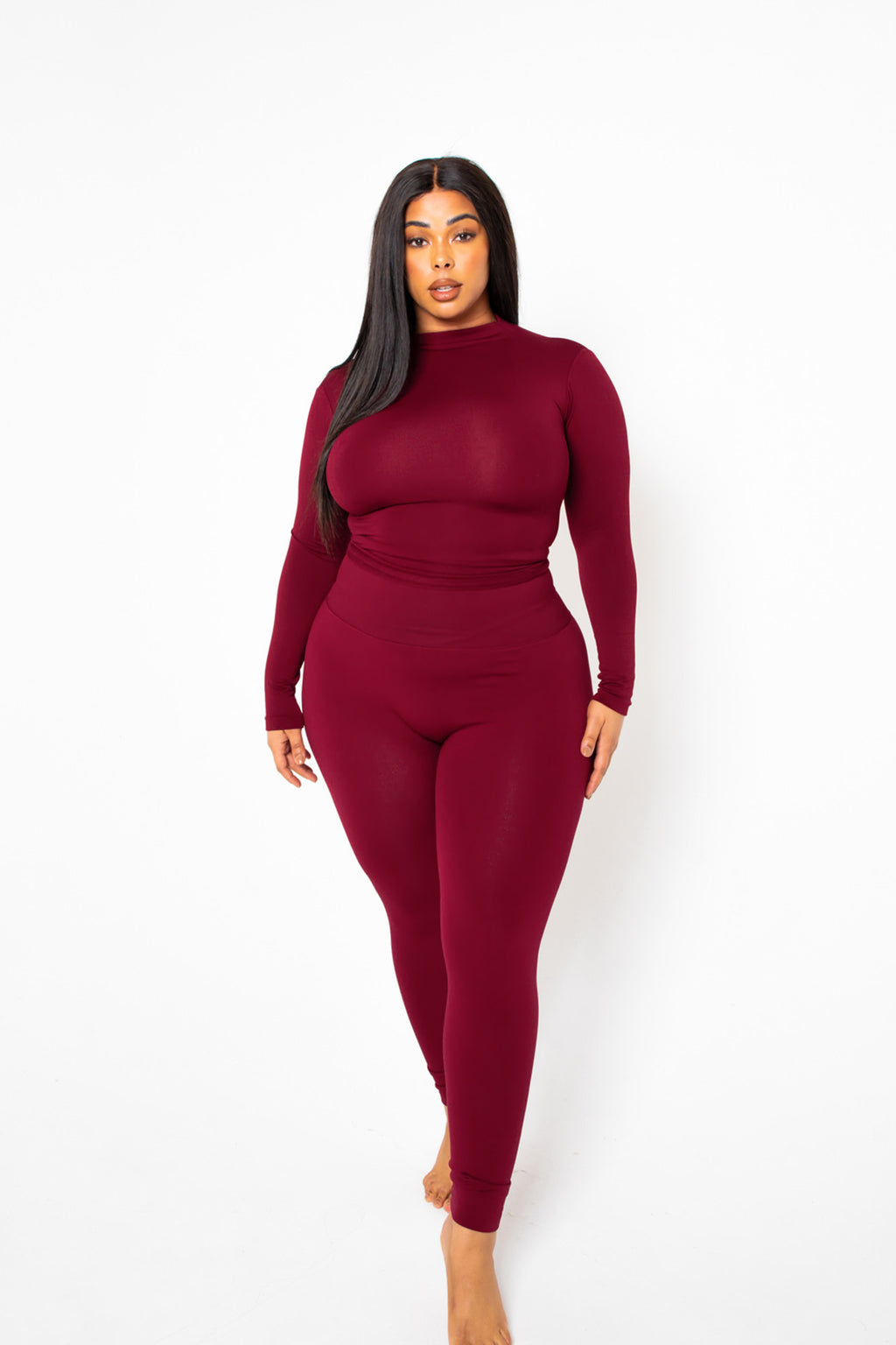 The Burgundy Yoga Tummy Control Legging fits up to PLUS! (choose your size)