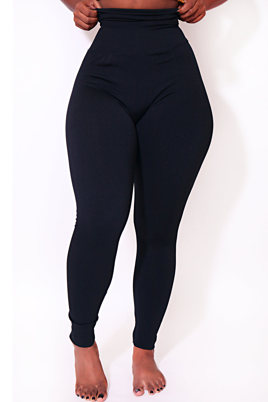 The Black Yoga Tummy Control Legging fits up to PLUS! (choose your size) - Babes And Felines | Specializing in Fashionable Staple Pieces for Every Shape and Size