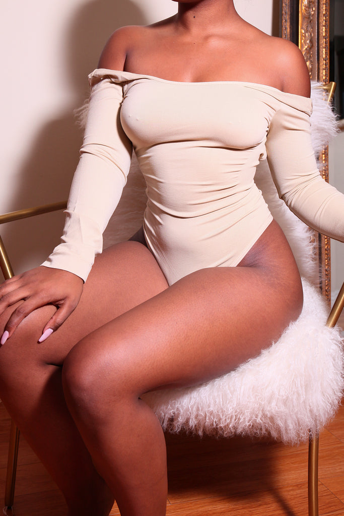 LONG SLEEVE NUDE Body By Babes Bodysuit (Fits up to PLUS)
