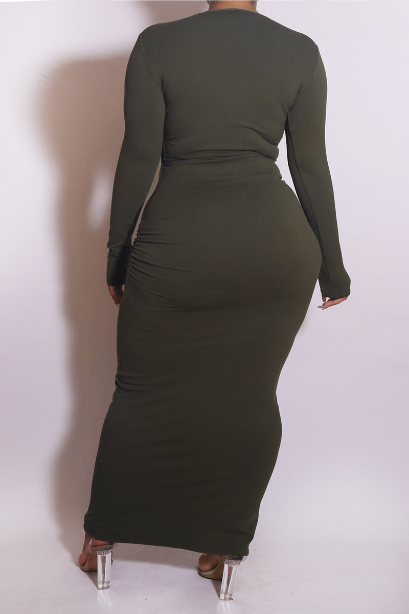 The Wrap Bodycon Maxi Dress Olive - Babes And Felines | Specializing in Fashionable Staple Pieces for Every Shape and Size (1449226043464)