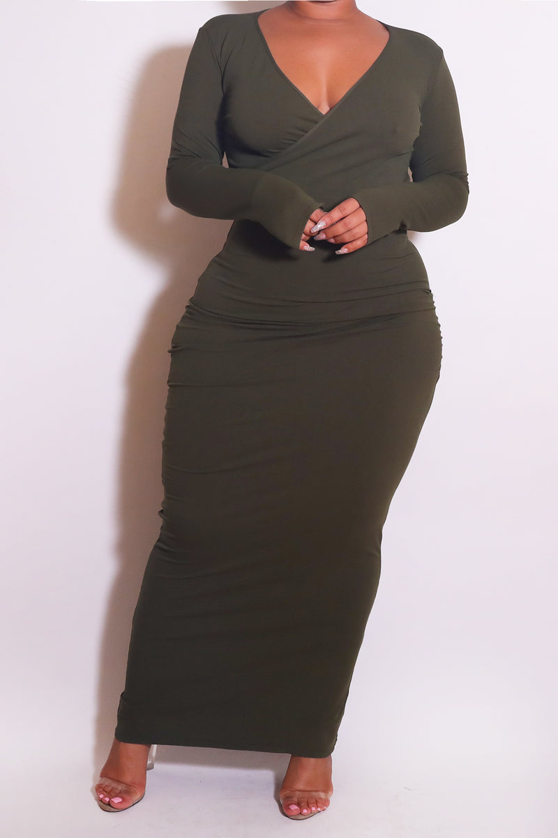 The Wrap Bodycon Maxi Dress Olive - Babes And Felines | Specializing in Fashionable Staple Pieces for Every Shape and Size