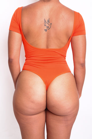 Orange Short Sleeve Body By Babes Thong Bodysuit