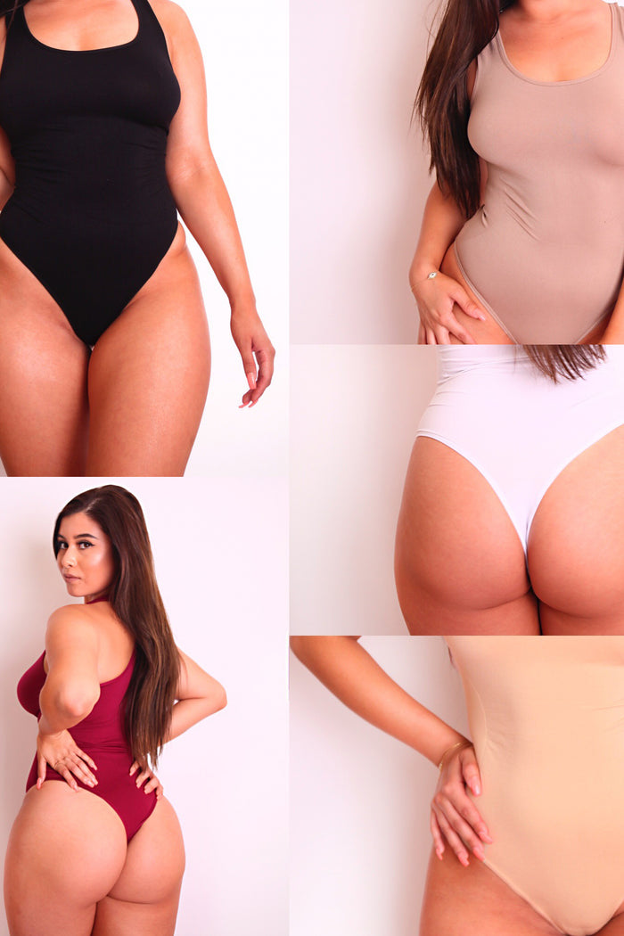 3 Pack-5 Pack Body By Babes Thong Bodysuit w/ Tummy Control