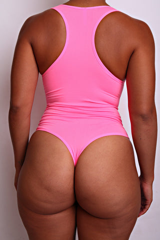 Hot Pink Body By Babes Thong Bodysuit w/ Tummy Control fits up to plus