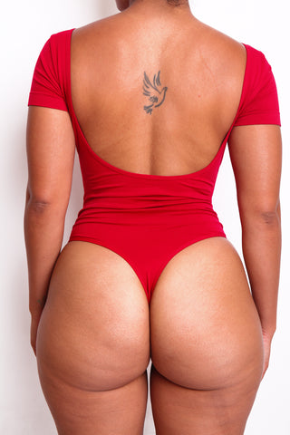 Red Short Sleeve Body By Babes Thong Bodysuit