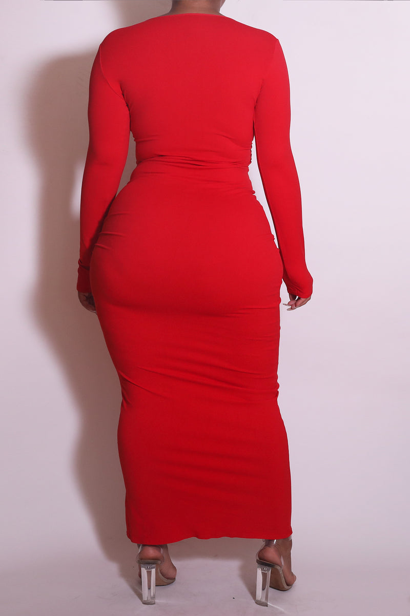 The Wrap Bodycon Maxi Dress in Red - Babes And Felines | Specializing in Fashionable Staple Pieces for Every Shape and Size (1449226436680)