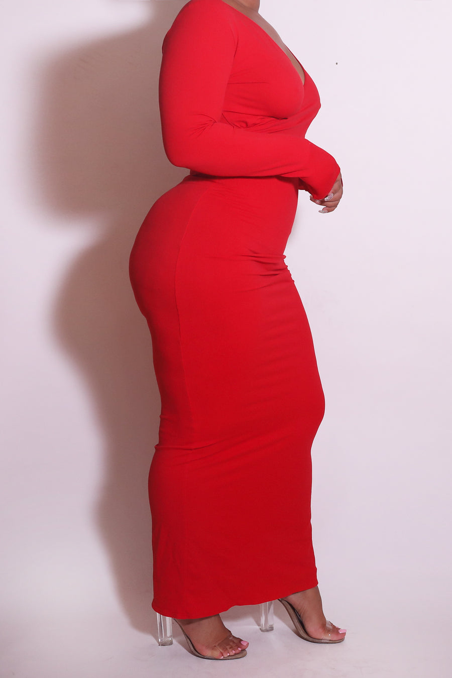 The Wrap Bodycon Maxi Dress in Red - Babes And Felines | Specializing in Fashionable Staple Pieces for Every Shape and Size