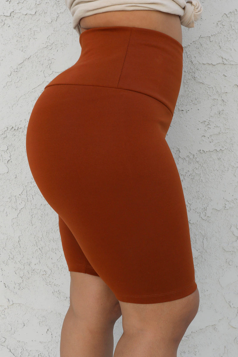 Tummy Control SHAPING High Waist Biker Short (Rust)