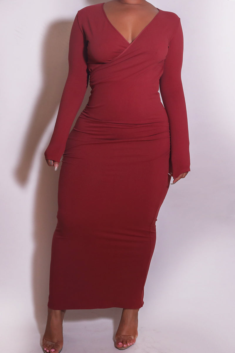 The Wrap Bodycon Maxi Dress in Rust - Babes And Felines | Specializing in Fashionable Staple Pieces for Every Shape and Size (1449223979080)