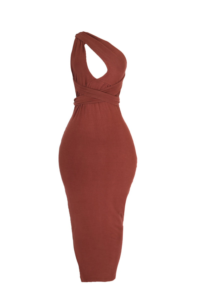 Tie Bodycon Dress (Rust))