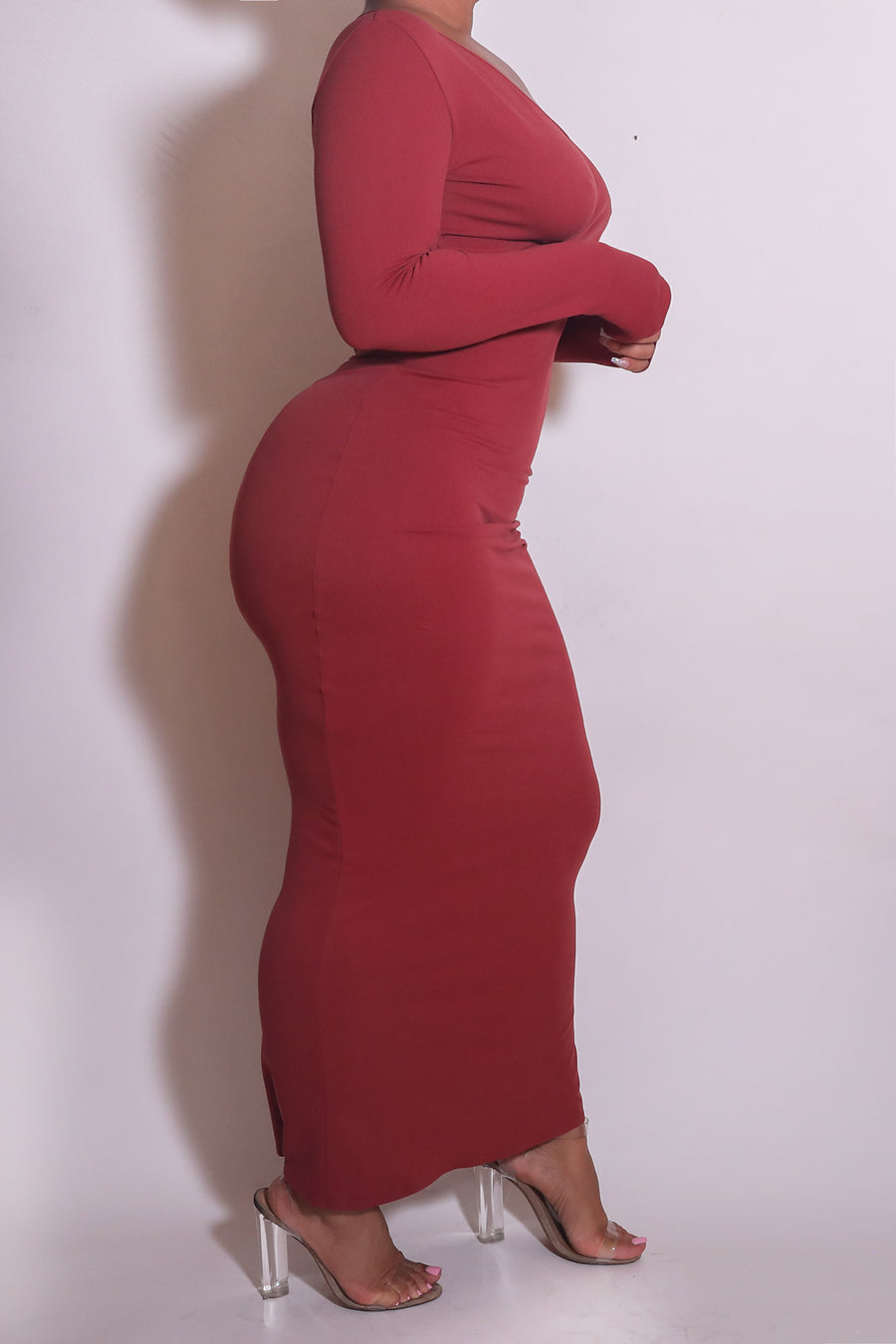 The Wrap Bodycon Maxi Dress in Rust - Babes And Felines | Specializing in Fashionable Staple Pieces for Every Shape and Size
