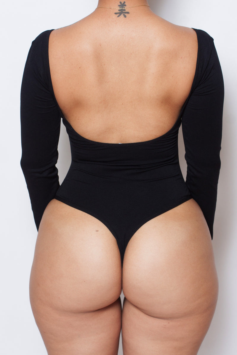 LONG SLEEVE Black Body By Babes Bodysuit (Fits up to PLUS) - Babes And Felines | Specializing in Fashionable Staple Pieces for Every Shape and Size