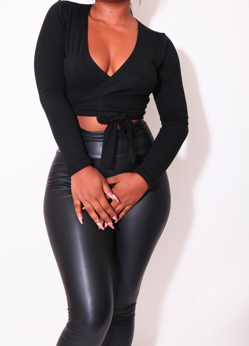 The Vixen Wrap Top in Black - Babes And Felines | Specializing in Fashionable Staple Pieces for Every Shape and Size