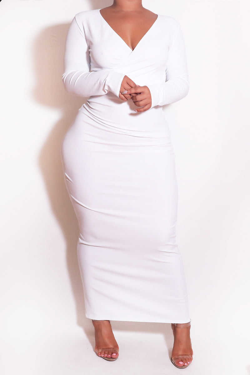 The Wrap Bodycon Maxi Dress in White