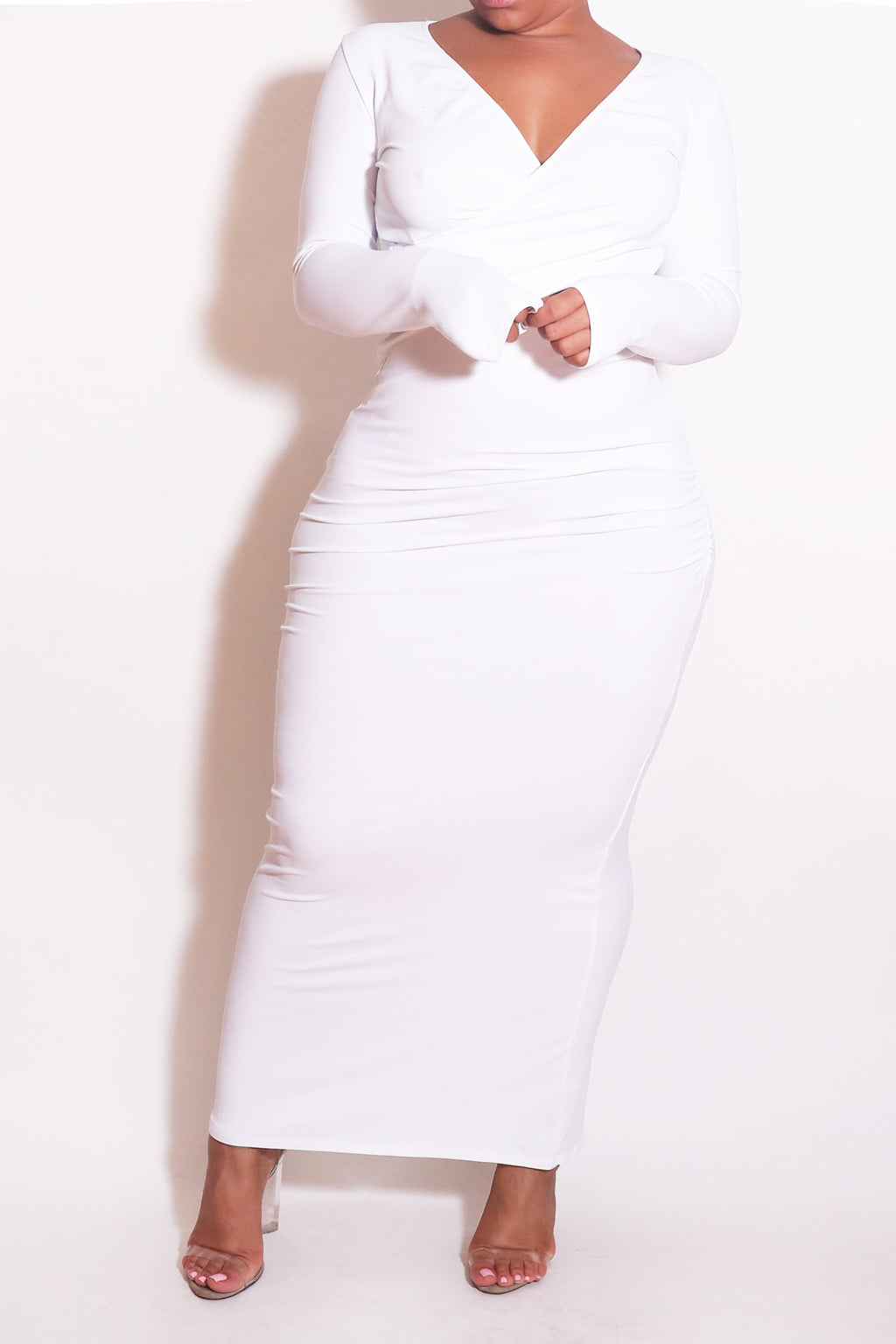 The Wrap Bodycon Maxi Dress in White - Babes And Felines | Specializing in Fashionable Staple Pieces for Every Shape and Size