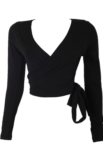 The Vixen Wrap Top in Black