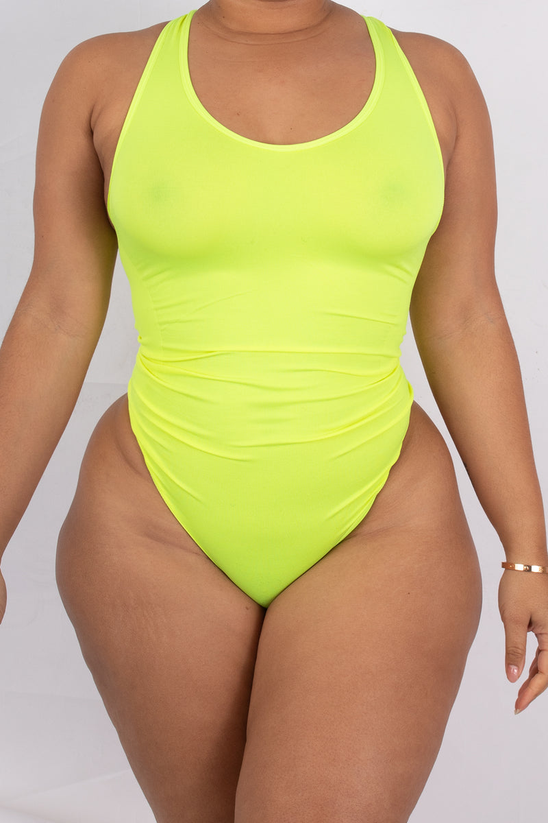 NEON YELLOW Body By Babes Thong Bodysuit w/ Tummy Control fits up to plus