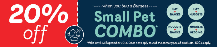 Save 20% with our Burgess Small Pet combo offer.