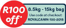 Save R100 off any 8.5kg - 15kg bag of Royal Canin food.