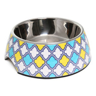 Olly & Max Decorative Melamine Dog Bowl (Yellow & Blue)