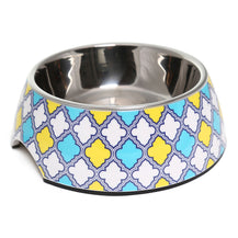 Olly & Max Decorative Melamine Pet Bowl (Yellow & Blue)