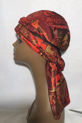 Pharaoh  Satin Lined Do Rag ( red & wine )