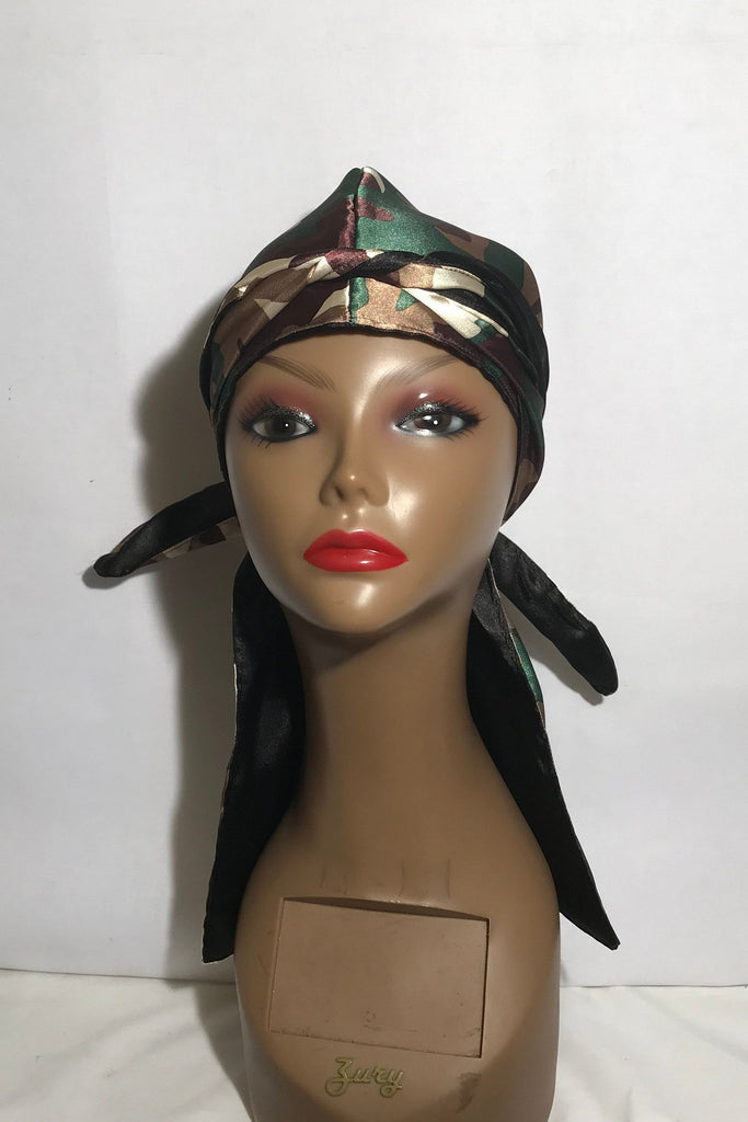 Camouflage  Satin Lined Do Rag