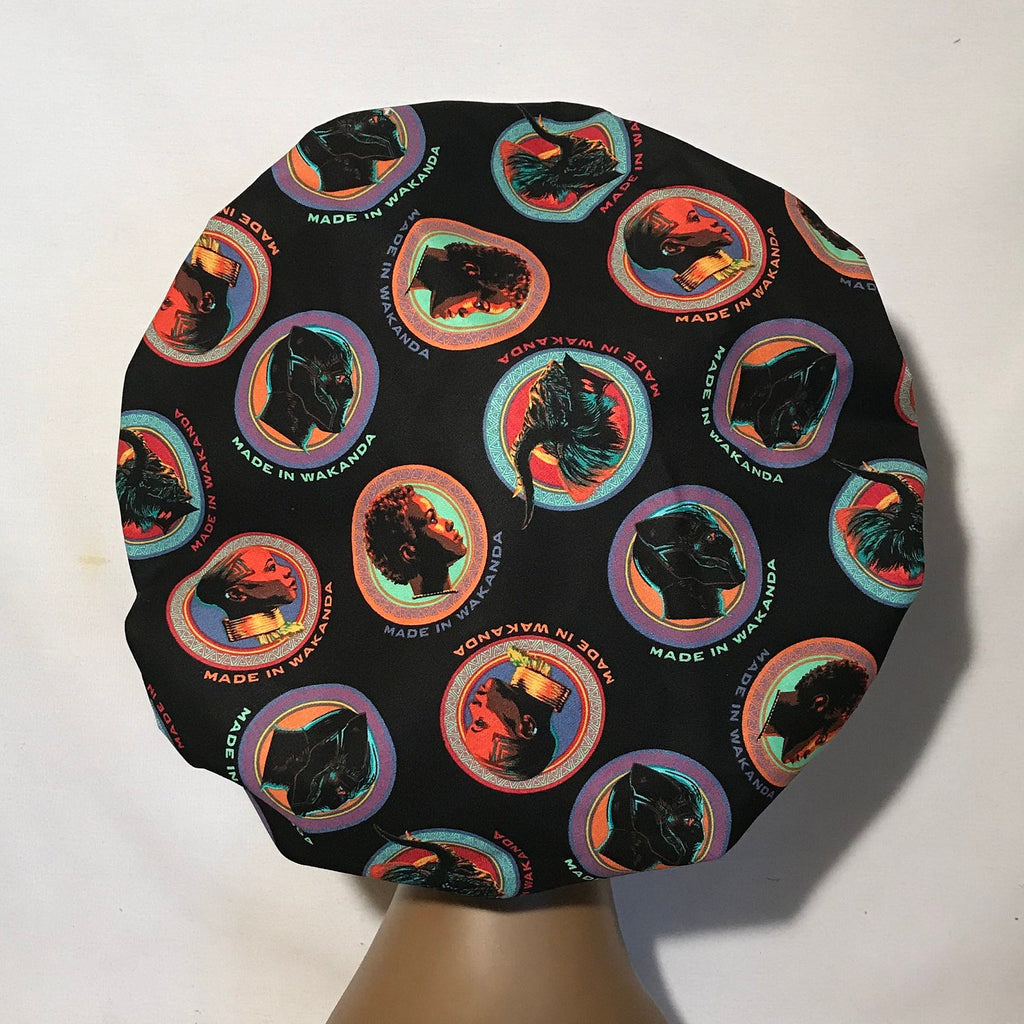 Black Panther's  Made in  Wakanda Satin Lined Bonnet   (Large Size)