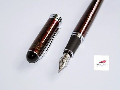 Fountain Pen Red + Black Patterned Quality Smooth Writer + Ink Converter NEW