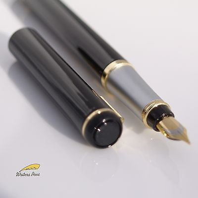 Fountain Pen Baoer 801 Fine Nib Black Silver Gold Free Converter Cartridge F NEW
