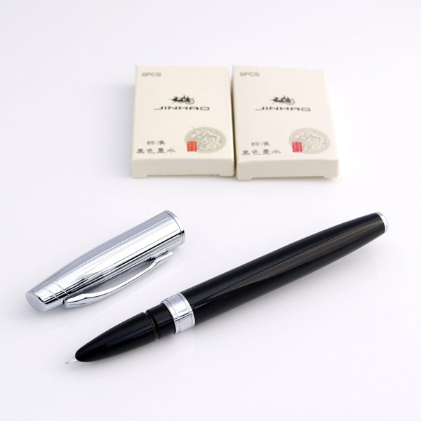 Baoer 100 Fine Nib Black Fountain Pen with Ink Converter for Bottled Ink NEW