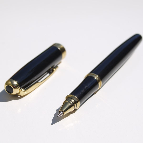 Black Rollerball Pen with Gold Colour Trim Baoer 388 + 3 Rollerball Refills NEW