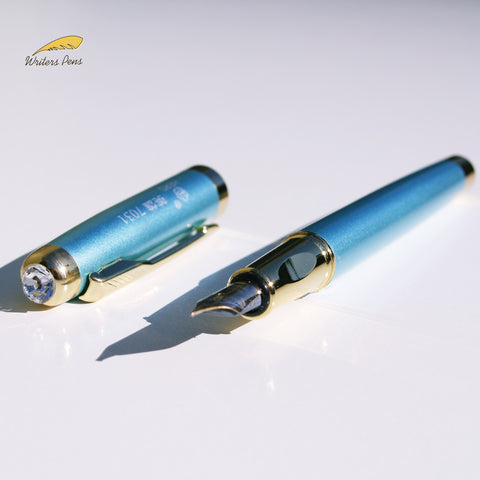 Turquoise Blue Hero Fountain Pen Medium Nib + Ink Converter for Bottled Ink NEW