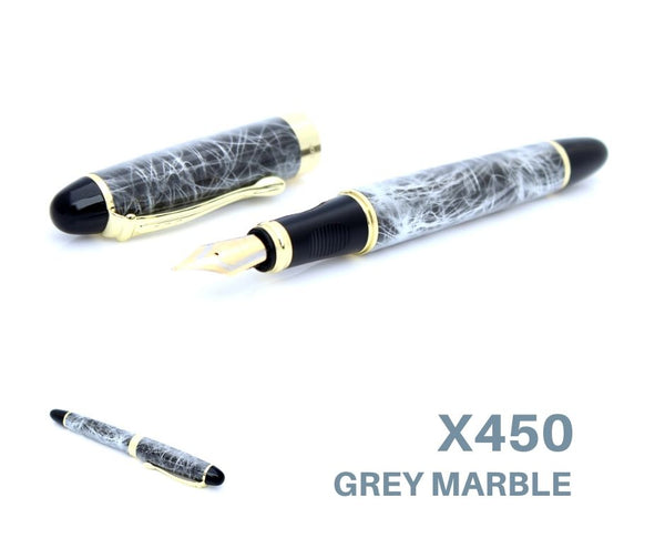 Jinhao X450 Fountain Pen Grey Medium Nib Gold Colour Trim + Ink Converter NEW + Optional Cartridges