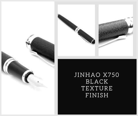 Jinhao x750 M Nib Fountain Pen Black Textured Finish + Ink Converter + Optional Cartridges