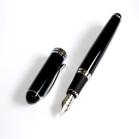 New Black Fountain Pen + Ink Converter Jinhao X750 + 12 Cartridges + Sleeve Quality