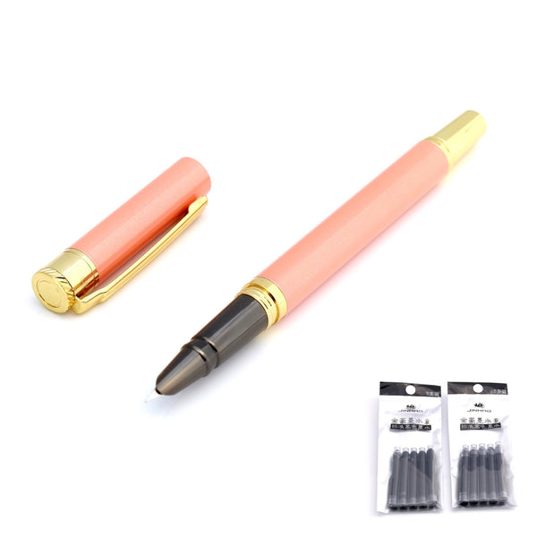 New Fine Nib Fountain Pen Salmon Pink Hero 7037 + Ink Converter - Customise by adding Cartridges or Sleeve
