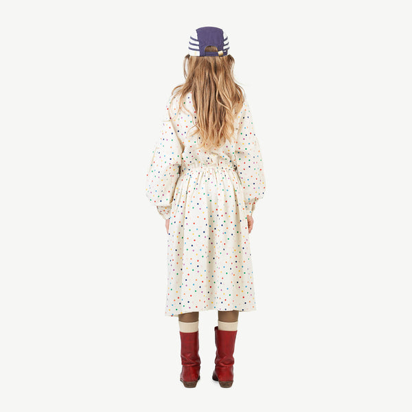 Dots Tortoise Kids Dress - Raw White Dots