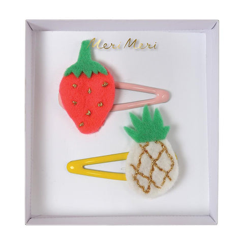Hair Clips - Pineapple & Strawberry