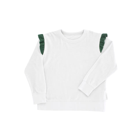 Towel Sweatshirt Frills - Light Grey/Dark Green