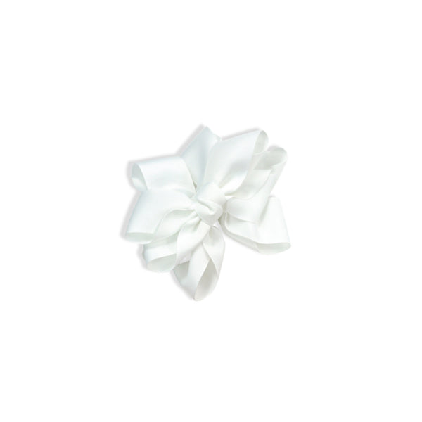 Satin Grosgrain Hair Clip - White