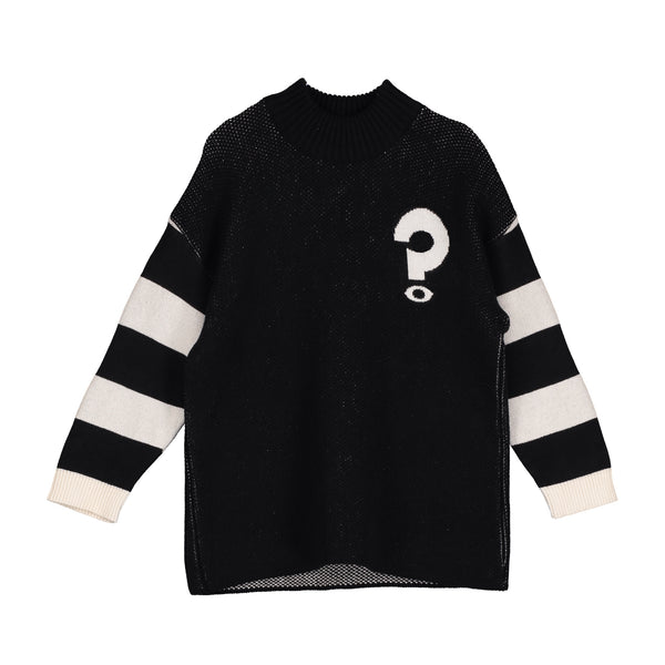 Funnel Neck Oversized Sweater - Stripes/Question Marks